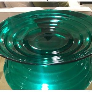 Vintage Large Emerald Green Glass Centerpiece Bowl